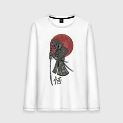 Лонгслив хлопковый мужской Самурай цвета белый — фото 1