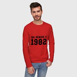 Лонгслив хлопковый мужской На Земле с 1982 цвета красный — фото 2