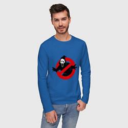 Лонгслив хлопковый мужской Крик: запрещено цвета синий — фото 2