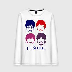 Лонгслив хлопковый мужской The Beatles faces цвета белый — фото 1