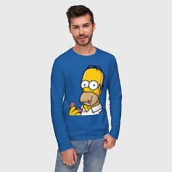 Лонгслив хлопковый мужской Гомер с Пончиком цвета синий — фото 2