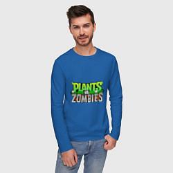 Лонгслив хлопковый мужской Plants vs zombies цвета синий — фото 2