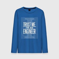 Лонгслив хлопковый мужской I'm an Engineer цвета синий — фото 1