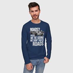Лонгслив хлопковый мужской We don't need roads цвета тёмно-синий — фото 2