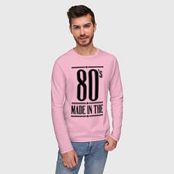 Лонгслив хлопковый мужской Made in the 80s цвета светло-розовый — фото 2