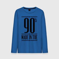 Лонгслив хлопковый мужской Made in the 90s цвета синий — фото 1