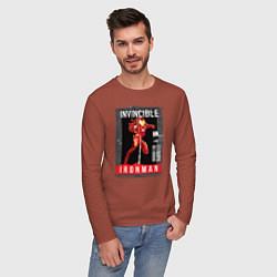 Лонгслив хлопковый мужской Invincible Iron Man цвета кирпичный — фото 2