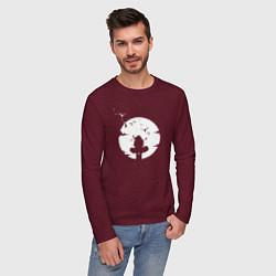 Лонгслив хлопковый мужской НАРУТО цвета меланж-бордовый — фото 2