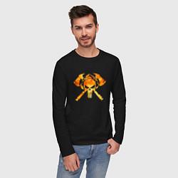 Лонгслив хлопковый мужской Пожарный Z цвета черный — фото 2