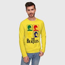 Лонгслив хлопковый мужской The Beatles: Colors цвета желтый — фото 2