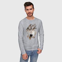 Лонгслив хлопковый мужской Волк - моё второе Я цвета меланж — фото 2