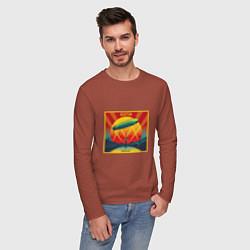 Лонгслив хлопковый мужской Led Zeppelin цвета кирпичный — фото 2