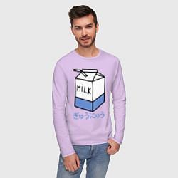 Лонгслив хлопковый мужской White Milk цвета лаванда — фото 2