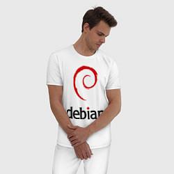 Пижама хлопковая мужская Debian цвета белый — фото 2