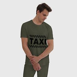Пижама хлопковая мужская Taxi цвета меланж-хаки — фото 2