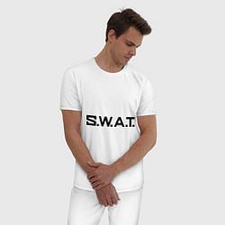 Пижама хлопковая мужская S.W.A.T цвета белый — фото 2