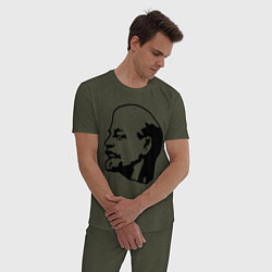 Пижама хлопковая мужская Ленин: скульптура цвета меланж-хаки — фото 2
