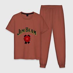Пижама хлопковая мужская Jim Beam цвета кирпичный — фото 1