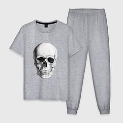 Пижама хлопковая мужская Череп цвета меланж — фото 1