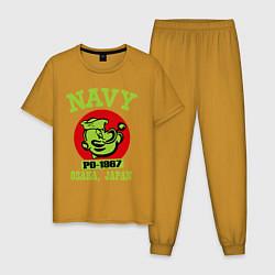 Пижама хлопковая мужская Navy: Po-1967 цвета горчичный — фото 1