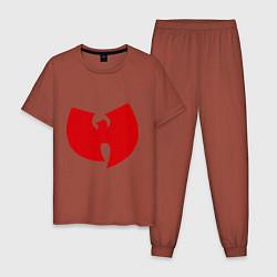 Пижама хлопковая мужская Wu-tang clan цвета кирпичный — фото 1