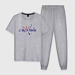 Пижама хлопковая мужская Washington Capitals цвета меланж — фото 1