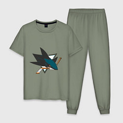 Пижама хлопковая мужская San Jose Sharks цвета авокадо — фото 1