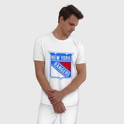 Пижама хлопковая мужская New York Rangers цвета белый — фото 2