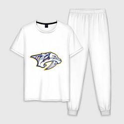 Пижама хлопковая мужская Nashville Predators цвета белый — фото 1