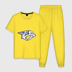 Пижама хлопковая мужская Nashville Predators цвета желтый — фото 1
