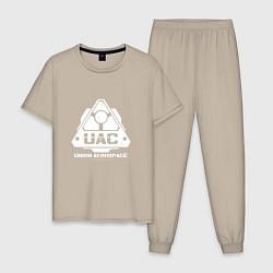 Пижама хлопковая мужская UAC цвета миндальный — фото 1