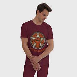 Пижама хлопковая мужская No Pasaran цвета меланж-бордовый — фото 2