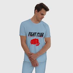 Пижама хлопковая мужская Fight Club цвета мягкое небо — фото 2