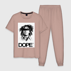 Пижама хлопковая мужская Bob Marley Dope цвета пыльно-розовый — фото 1