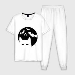 Пижама хлопковая мужская Луна с котами цвета белый — фото 1