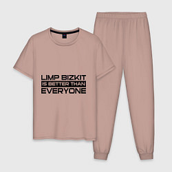 Пижама хлопковая мужская Limp Bizkit: Everyone цвета пыльно-розовый — фото 1