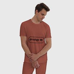 Пижама хлопковая мужская Prodigy лого с муравьем цвета кирпичный — фото 2