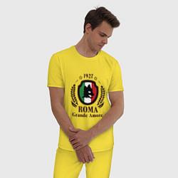 Пижама хлопковая мужская AS Roma: Grande Amore цвета желтый — фото 2