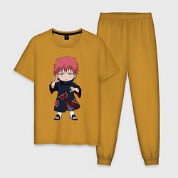 Пижама хлопковая мужская Сасори цвета горчичный — фото 1