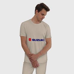 Пижама хлопковая мужская Suzuki цвета миндальный — фото 2