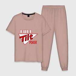 Пижама хлопковая мужская Full Tilt Poker цвета пыльно-розовый — фото 1