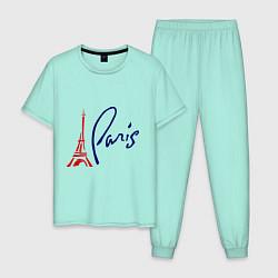 Пижама хлопковая мужская I Paris цвета мятный — фото 1