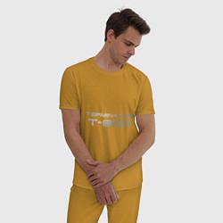 Пижама хлопковая мужская Терминатор Т-800 цвета горчичный — фото 2