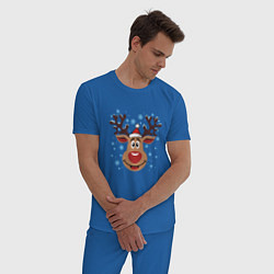 Пижама хлопковая мужская Олень под снегом цвета синий — фото 2