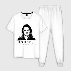 Пижама хлопковая мужская House MD: Addiction цвета белый — фото 1