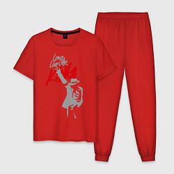 Пижама хлопковая мужская Майкл Джексон - Long live the King цвета красный — фото 1
