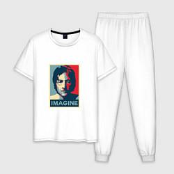 Пижама хлопковая мужская Lennon Imagine цвета белый — фото 1