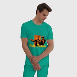 Пижама хлопковая мужская Pulp Fiction цвета зеленый — фото 2