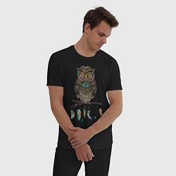 Пижама хлопковая мужская Сова-шаман цвета черный — фото 2