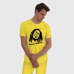 Пижама хлопковая мужская Bob Marley: Don't worry цвета желтый — фото 2
